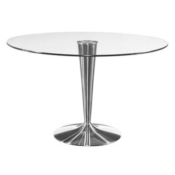 Bassett Mirror Concorde Round Glass Dining Table w/ Chrome Base