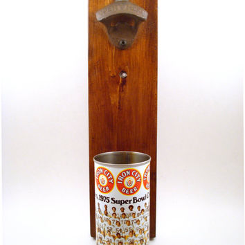 Wall Mounted Bottle Opener Featuring A Vintage 1975 Pittsburgh Steelers Beer Can Cap Catcher - Groomsmen, Housewarming, Or Guy Gift