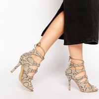 Glamorous Snake Strappy Tie Up Heeled Sandals