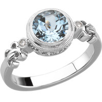 Sterling Silver or 14k White Gold Aquamarine & .02 CTW Diamond Ring