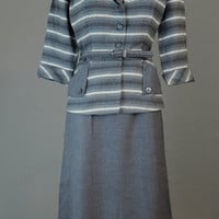 Vintage 1950s Grey Stripe, Detailed Tailored Suit with Belt, 36 bust, 28 waist