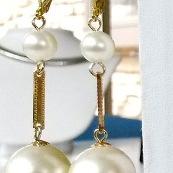 "RePurposed Fx Pearl Gold Tone Pierced Dangle Earrings Bridal Jewelry Vintage 2-1/2"" Long OOAK"