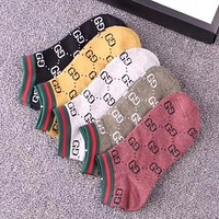 GUCCI Popular Women Men Casual GG Letter Breathable Pure Cotton 5 Pairs Sport Socks