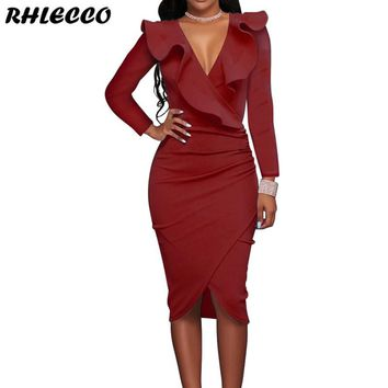 2018 Autumn Women Ruffles Long Sleeve Wrap V Neck Sexy Dress Ladies Office Casual Party Midi Dress Bodycon Winter Black Vintage