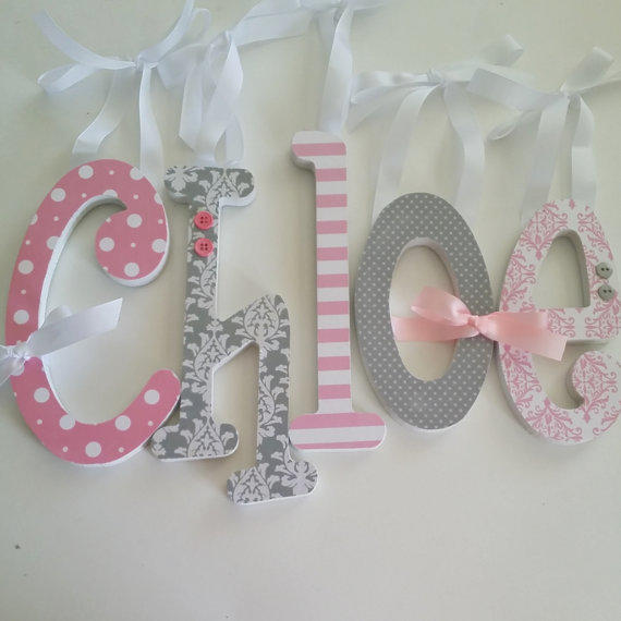 Pink and grey nursery decor baby girl from dwellingonline on for Decoration 5 letters