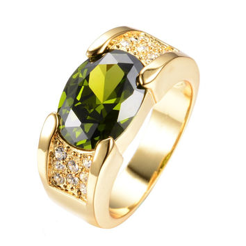 Men's Fashion Jewelry Size 10/11/12 Peridot Sapphire 18KT Yellow Gold Filled Finger Ring High Quality New RY0068