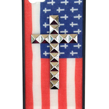 American Flag Silver Cross iPhone 5/5s Case