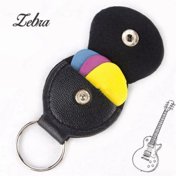 Zebra 5pcs/Set Leather Black Guitar Pick Holder Plectrum Case Bag For Musical Instruments Ukulele Guitar Parts Accessories