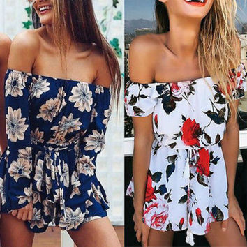 New Fashion Women Summer Beach Floral Off Shoulder Jumpsuit Clubwear Chiffon Bodycon Playsuit Romper Outfit NEW