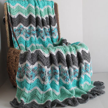Afghan - Ripple Crochet Blanket - Teal, White, Aqua, and Grey