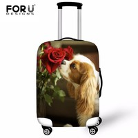 FORUDESIGNS FashionTravel Luggage Protective Cover 3D Dogs Waterproof Suitcase Covers Cute Dog Cat Elastic Cover For 18-30 Inch