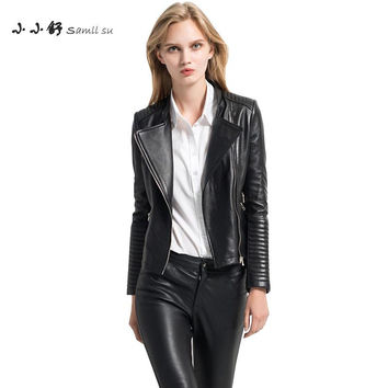 Small Su 2017 Black Sheepskin Criss-cross V-neck Zipper Long Sleeve Genuine Leather Motorcycle Jacket For Women Blouson Moto