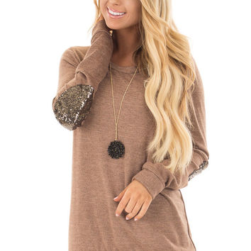 Cocoa Soft Sweater with Metallic Sequin Elbow Patches
