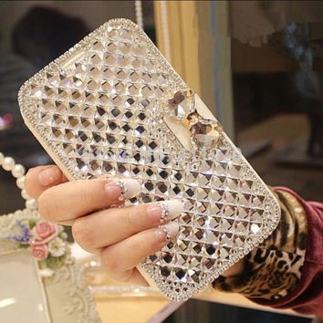 Luxury Bling Rhinestone Diamond Flip Phone Leather Case Cover Wallet for Samsung Galaxy Note 3 Note 4 Note5  S4 S5 S6 S7 S8 Plus