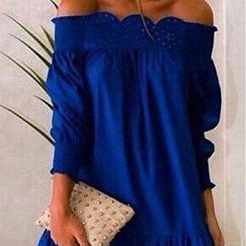 Blue Off Shoulder Laser Cut Out Design Lantern Sleeve Dress
