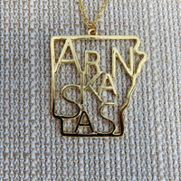 ARKANSAS Letters Inside State Necklace {gold} - Gold