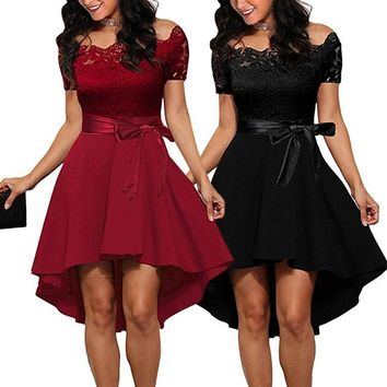 Red Elegant Lace Dress Women Patchwork Slash Neck Short Sleeve Sashes Tunic Dress Summer Ladies Sexy Evening Party Dresses designer clothes