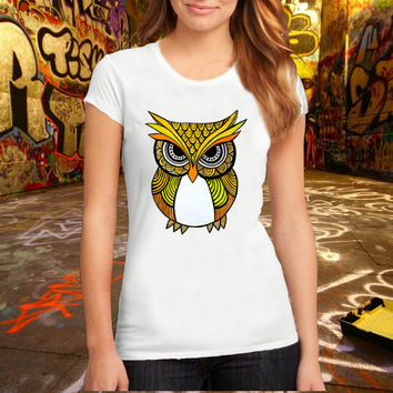 Owl T Shirt Printed T Shirt, Women T Shirt, (Various Color Available)