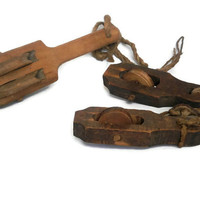 antique wood pulley 1910'-1920'