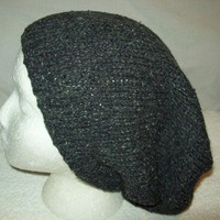 Big Slouchy Charcoal Tweed Recycled Fiber Yarn All Season Knit Big Hat