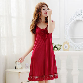 Summer Sexy Female Lounge Sleepwear Long Design Loose Female Ice Silk Lace Princess Red Nightgown Plus Size