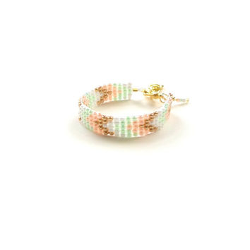 Peach mint gold chevron Bracelet  Baby Bracelet, girl baby bracelet, newborn bracelet, mommy and me, toddler bracelet, mothers day, bridesma