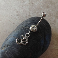 Ohm om Belly Ring 14ga Navel Ring Body Jewelry