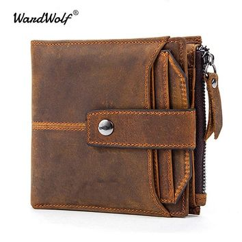 WardWolf Genuine Leather Men Wallets Clutch Male Vintage Hasp Slim RFID Wallet Short Coin Purse Men Card Holder Clamp for Money