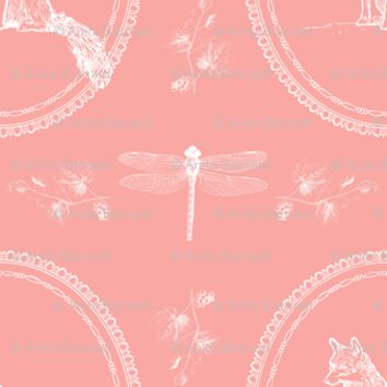 Fox Dragonfly Vines Coral - 13moons_design - Spoonflower