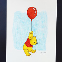 WINNIE the POOH BALLOON - disney Winnie the Pooh classic scene red balloon illusration artwork painting pooh bear walt disneyworld disney