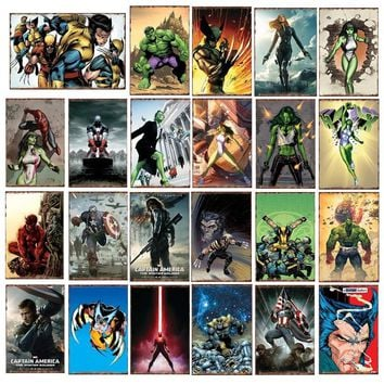 Batman Dark Knight gift Christmas The Avengers Captain America She Hulk Wolverine Batman Superhero Poster Wall Plaque Pub Bar Home Decor Vintage Metal Signs YN175 AT_71_6