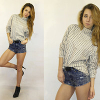 Vintage Turtle Neck shirt / Pattern Top / Abstract pattern top / Long sleeves shirt / Cotton top