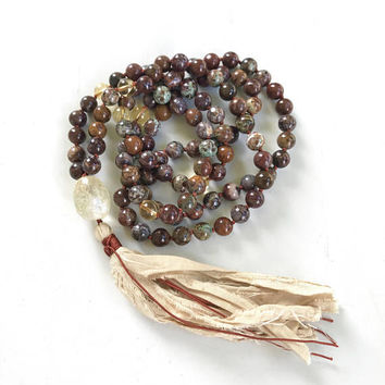 Brown & Green African Opal Mala Necklace, Citrine Mala Bead Necklace, Unique Mala Beads, 108 Bead Mala With Sari Silk Tassel, Japa Mala