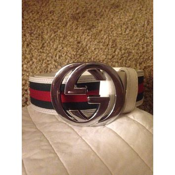 Gucci Belt 110cm White/Green/Red Mens/Womens Designer GG Supreme Leather