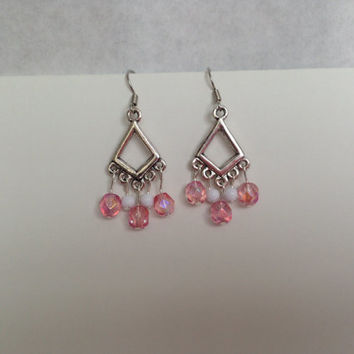 Silver White and Pink Chandelier Earrings, Pink Earrings, Silver Dangle Earrings