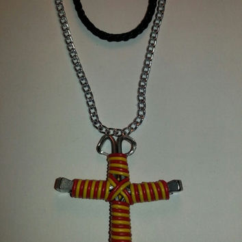 Yellow and neon red candy cane wire wrapped horseshoe nail cross necklace jewelry