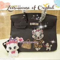 Swarovski / Czech Crystals - Herms Birkin Inspired Handbag / Purse with Ms Marie cat running a dog  - ZoeCrystal