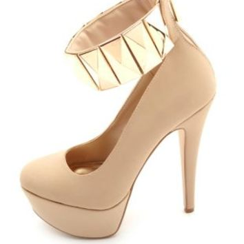 Anne Michelle Studded Ankle Cuff Platform Pumps - Nude