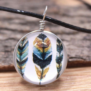 Vintage Style Handmade Feather Necklace Gift 150