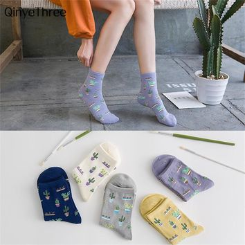 1Pair Fashion Women Plant Cactus Pattern Cacti Socks Plant Ball Cactus Harajuku Comfortable Lovely Girl Cotton scok Drop ship