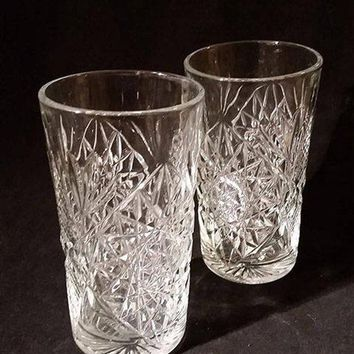 Vintage Libbey Hobstar Glass Water, High Ball Glasses