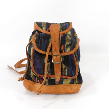 90s Festival Boho Ethnic Ikat Backpack with Leather Trim