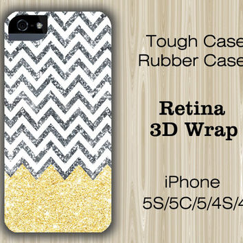 Golden Glitter Chevron iPhone 6/5S/5C/5/4S/4 Case