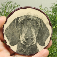 Dachshund Dog ring dish Small jewelry or trinket dish purple pottery
