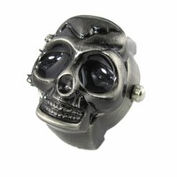 Juice Action Unisex Cool Design Skull Case Flip Quartz Ring Watch