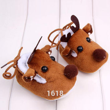 Cute Warm Baby Girls Christmas Deer Shoes Sweet Antiskid Toddlers Shoes Infant Toddler Prewalkers SM6