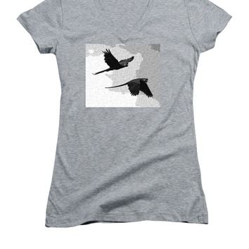 Parrots Drawing - Women's V-Neck (Athletic Fit)