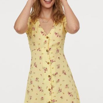 Crêped Dress - Light yellow/floral - | H&M US