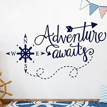 """Adventure Awaits Wall Decals Vinyl Stickers Decal Nautical Compass Nursery Boys Decor Nautical Art Decorations for Bedroom Playroom NS1111 (28"""" Tall x 48"""" Wide)"""
