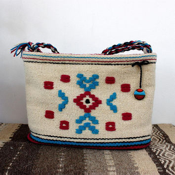 Handmande boho handbag, unique gypsy purse, vegan handmade purse - handwoven wool bag and vegan leather